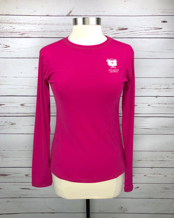 Asmar Equestrian Logo Long Sleeve Tee in Hot Pink - Front View