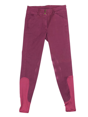 Piper Summer Denim Breeches in Berry with single button front closure