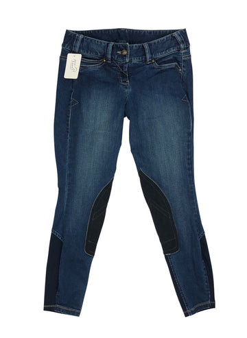 Ariat Whipstitch Knee Patch Breeches in Blue Denim