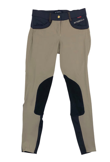 B Vertigo Melissa Knee Patch Breeches in Taupe and navy