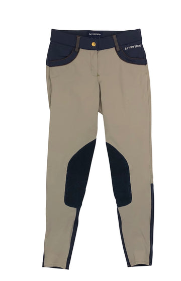 Front of B Vertigo Melissa Knee Patch Breeches in Tan/Navy