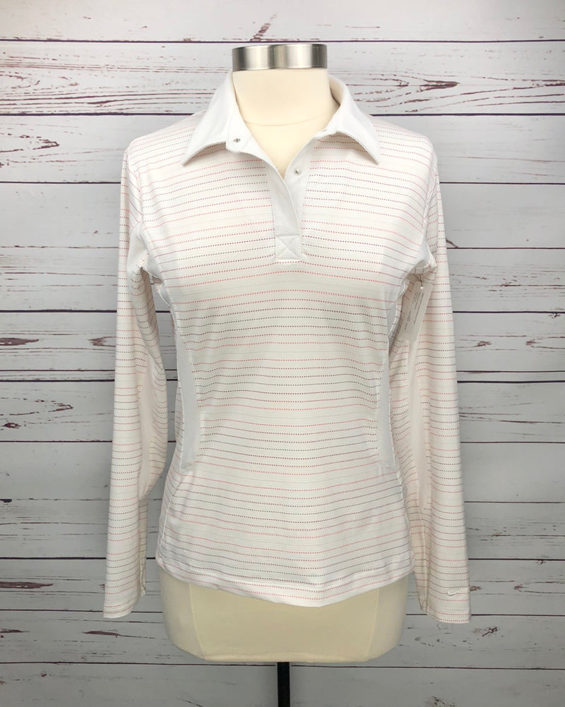 Nike Golf Long Sleeve Polo in White/Stripe - Women's Medium