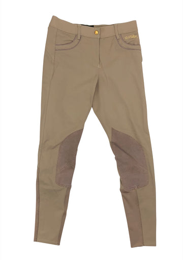 B Vertigo Melissa Knee Patch Breeches in Taupe