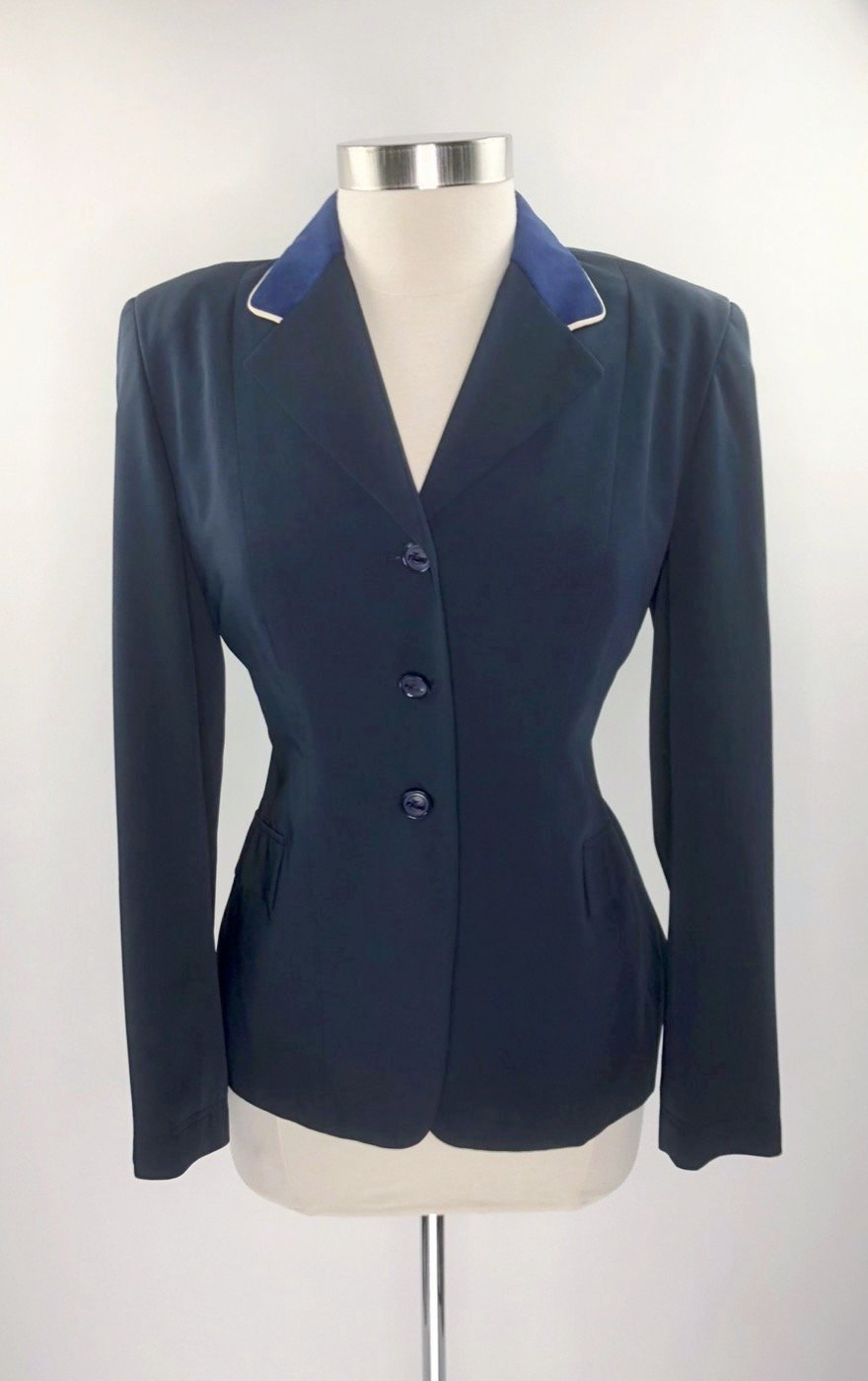 Grand Prix TechLite Hunt Coat in Navy w/Sapphire Collar -  Front View