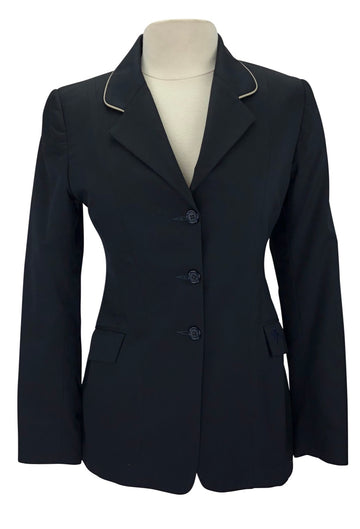 Front of Allon Stretch Hunt Coat in Black with tan piping