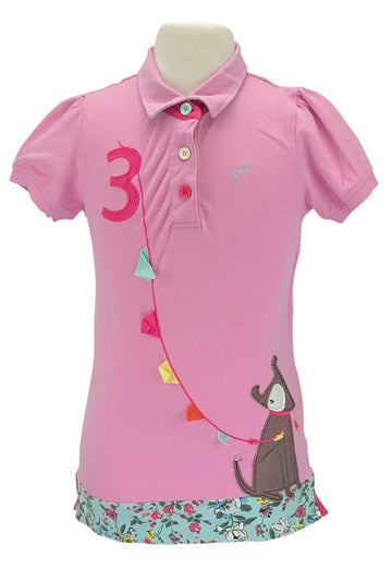 Joules Polo in Pink with dog and banner detail