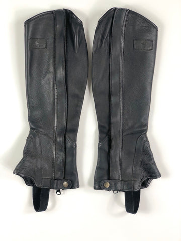 Grand Prix Leather Half Chaps in Black -Outside View
