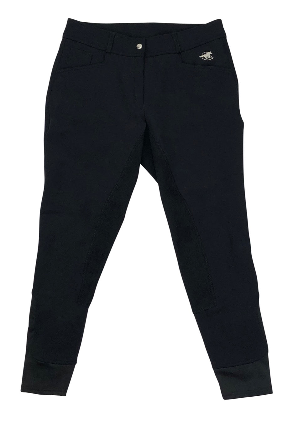 Front view of SmartPak Piper Softshell Full Seat Winter Breeches in Black