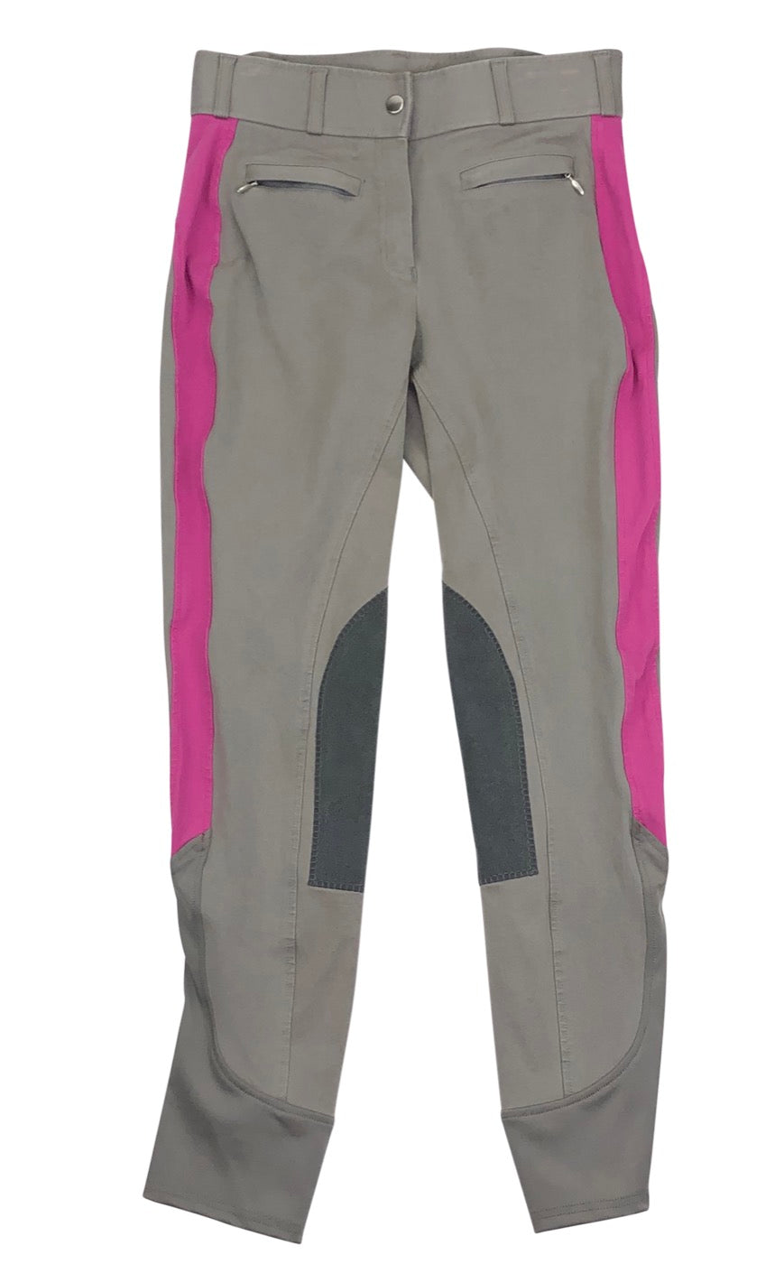 Dover Saddlery Knee Patch Breeches in Light Grey and pink