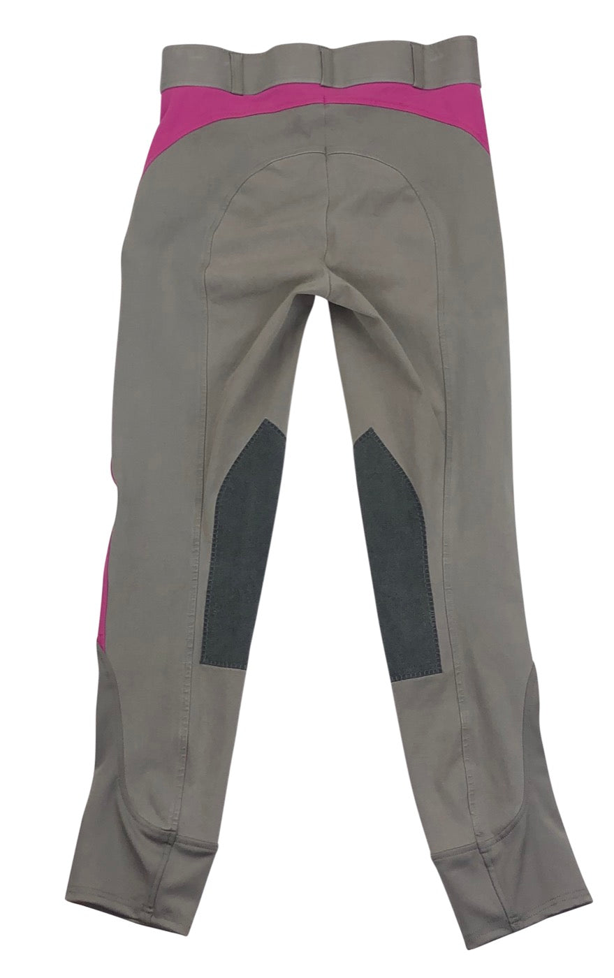 Back of Dover Saddlery Knee Patch Breeches in Light Grey and Pink