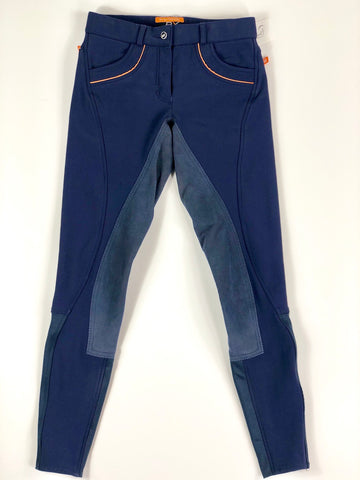 B Vertigo BVX Full Seat Winter Breeches in Navy/Orange - Front View