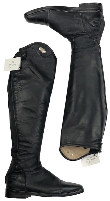 Outside and Inside of Parlanti Denver Custom Dress Tall Boots in Black