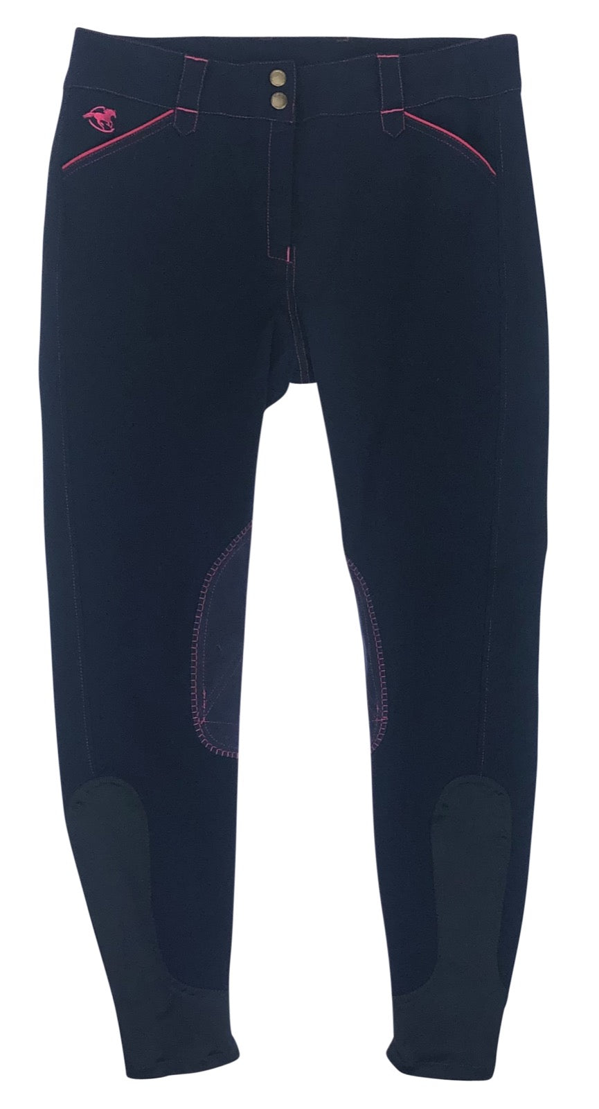 front view of SmartPak Piper Knee Patch Breeches in Navy/Hot Pink