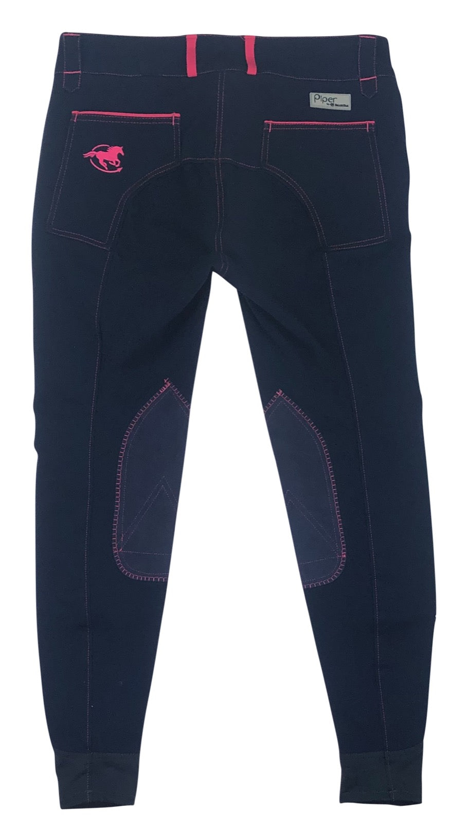 back view of SmartPak Piper Knee Patch Breeches in Navy/Hot Pink