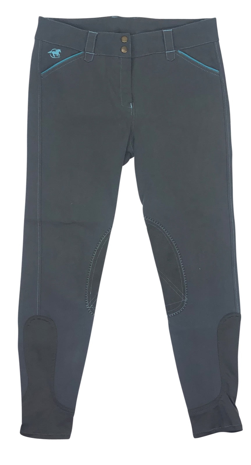 front view of SmartPak Piper Knee Patch Breeches in Grey/Blue