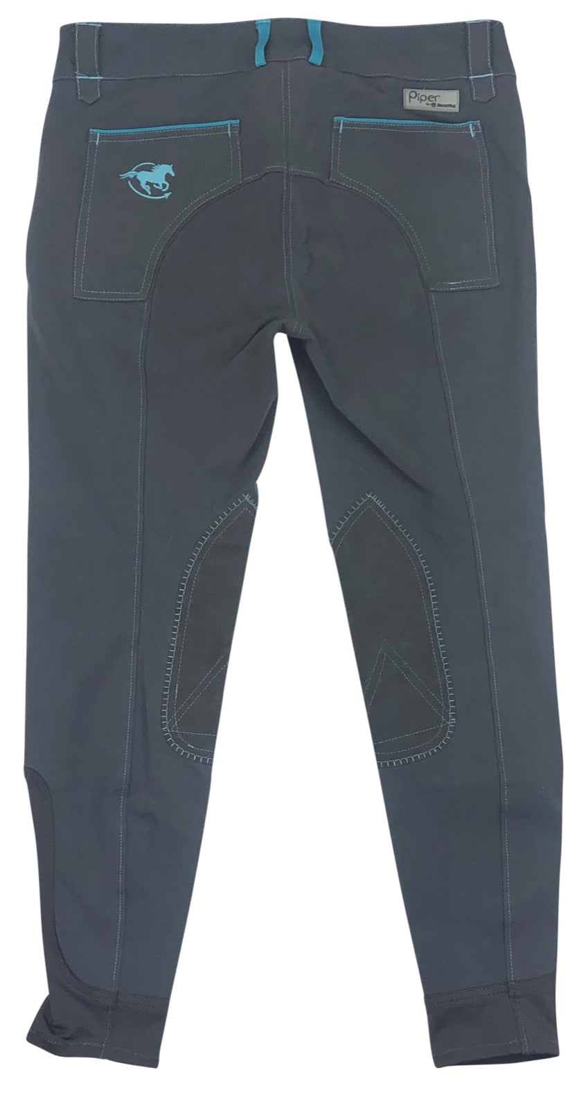 back view of SmartPak Piper Knee Patch Breeches in Grey/Blue