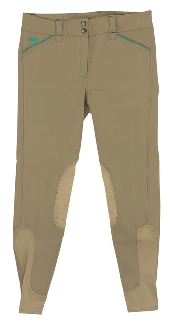 front view of SmartPak Piper Knee Patch Breeches in Wheat/Teal