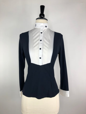Cavalleria Toscana Technical Long Sleeve Shirt with White Bib in Navy -  Front View