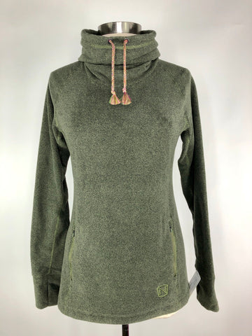Noble Outfitters Cozy Cowl Neck Fleece in Olive - Women's M