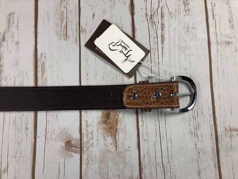 Rebecca Ray Designs Croc Embossed Belt in Tobacco - Women's Large