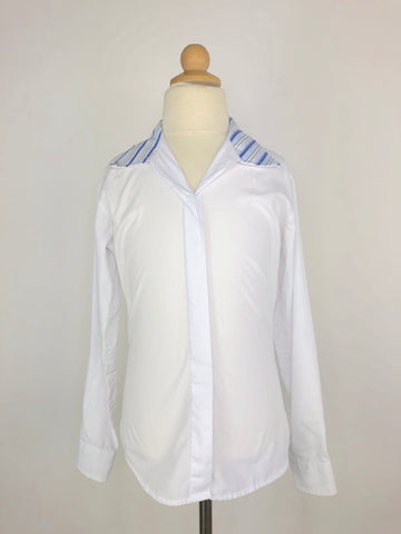 RJ Classics Essential Wrap Collar Show Shirt in White/Stripe -  Front View