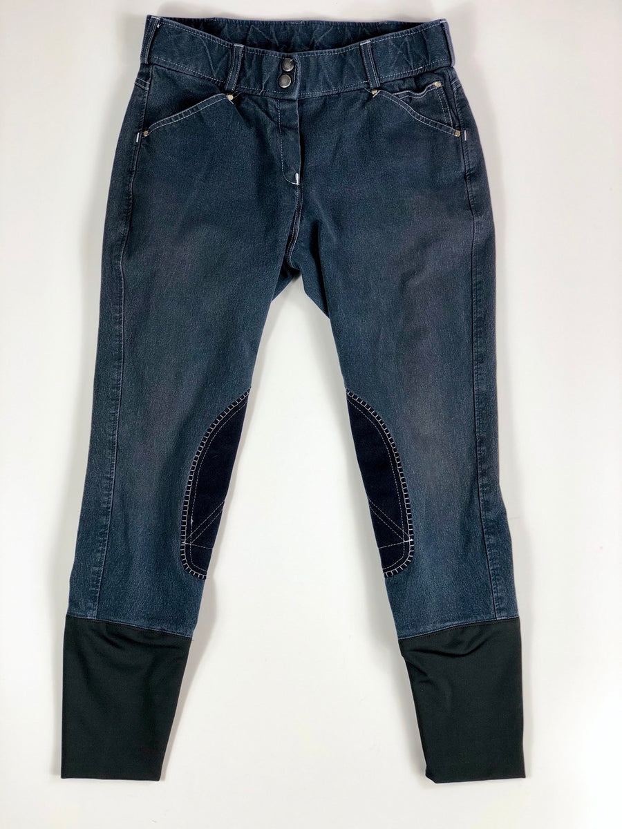 Denim Knee Patch Breeches in Navy -  Front View