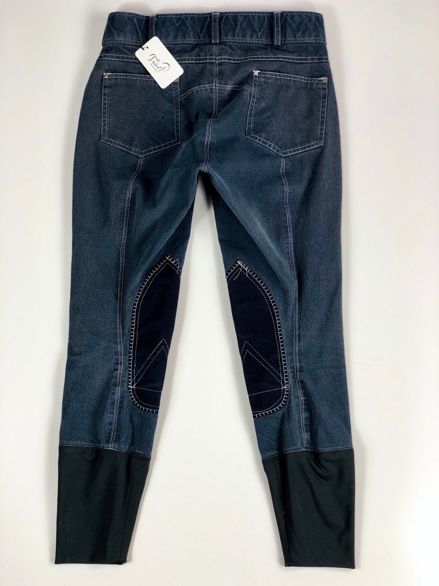 Denim Knee Patch Breeches in Navy -  Back View