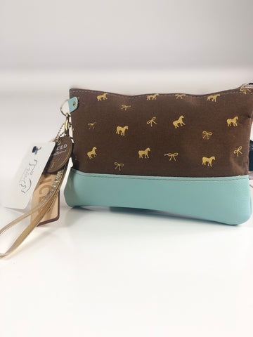 Spiced Equestrian Zip Wristlet in Brown Horse Print - One Size
