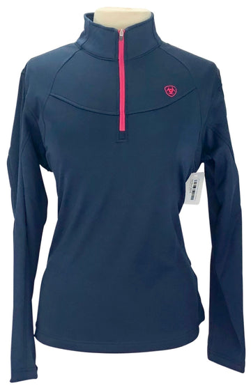 front view of Ariat 1/4 Zip Pullover in Navy - Women's L
