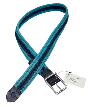 Ariat Three Rail Woven Belt in Teal/Navy - Approx. Women's Large