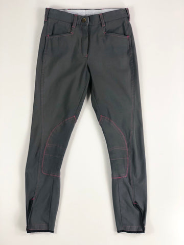 Manfredi Breeches in Grey/Pink - Women's EU 36L (US 24L) | XS/S