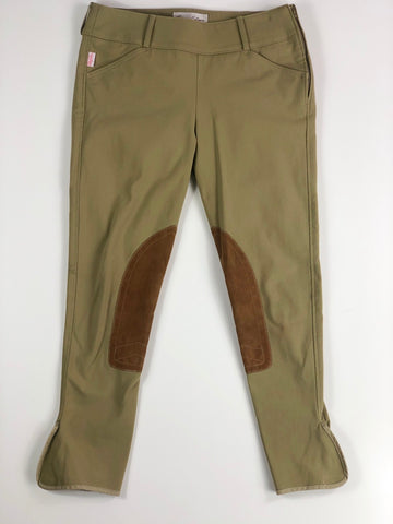 Tailored Sportsman Trophy Hunter Low Rise Side Zip Knee Patch Breeches in New Green Beige - Women's 28R