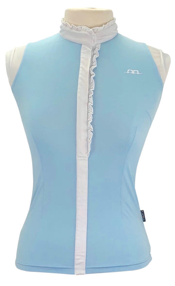 front view of AA Platinum Isa Competition Shirt in Sky Blue