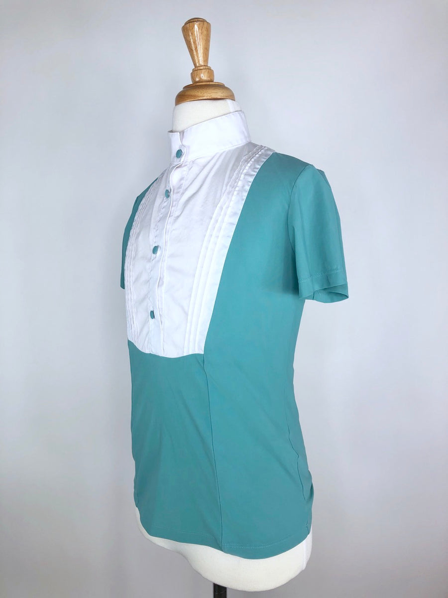 Cavalleria Toscana Competition Shirt with Bib in White/Mint - Left Side View