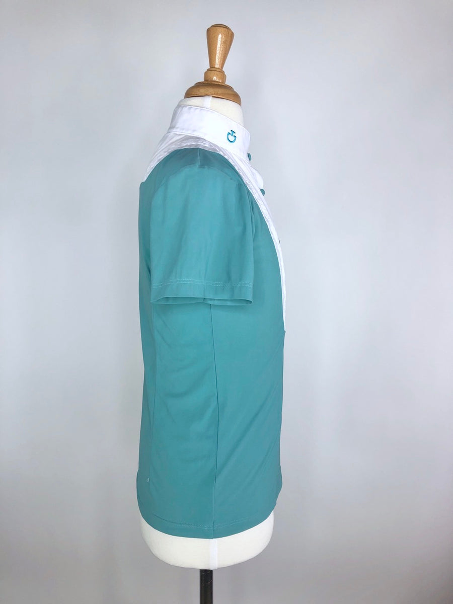Cavalleria Toscana Competition Shirt with Bib in White/Mint -  Right Side View