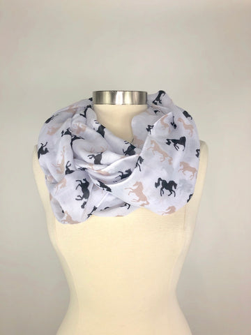 Horse Print Scarf in White - One Size