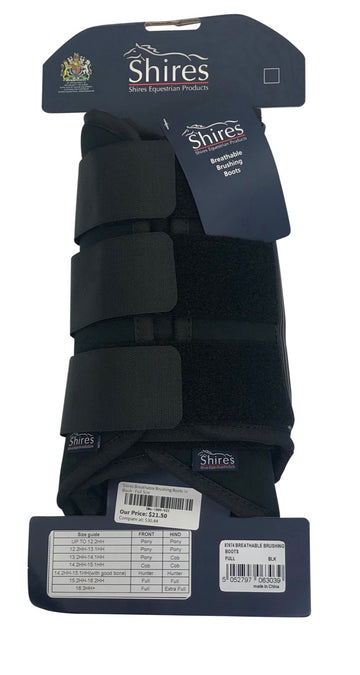 Shires Breathable Brushing Boots in Black with packaging