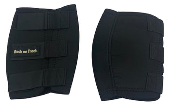 Side of Back On Track Horse Knee Boots in Black