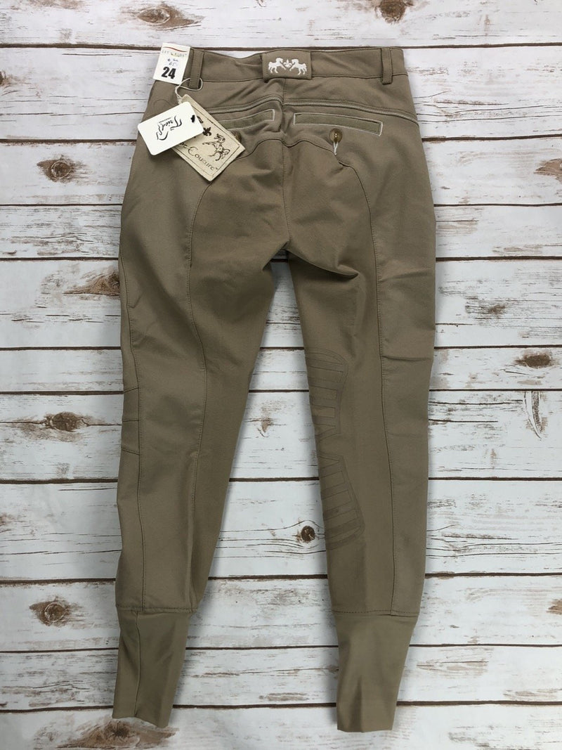 Equine Couture Ingate Knee Patch Breeches in Safari Tan - Women's 24R