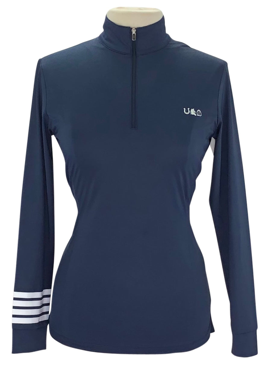 Sport Horse Lifestyle Orleen Sun Shirt in Navy with white stripe detail