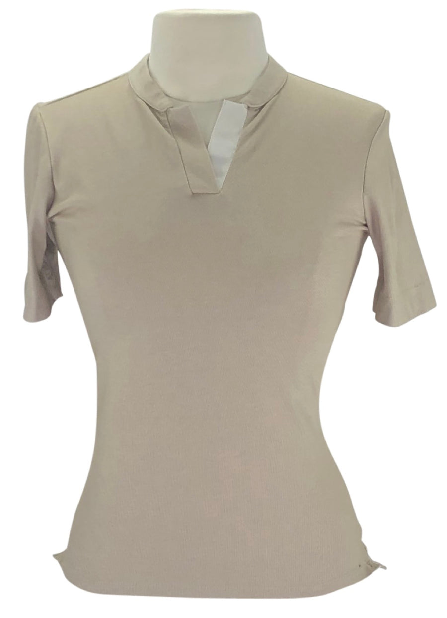 Callidae Short Sleeve Polo in Cottonwood/Cream Ribbon