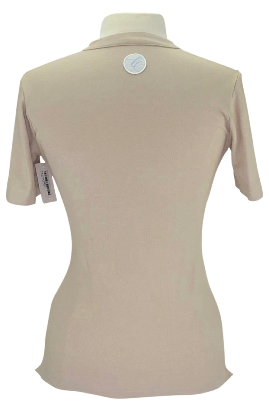 Back of Callidae Short Sleeve Polo in Cottonwood/Cream Ribbon