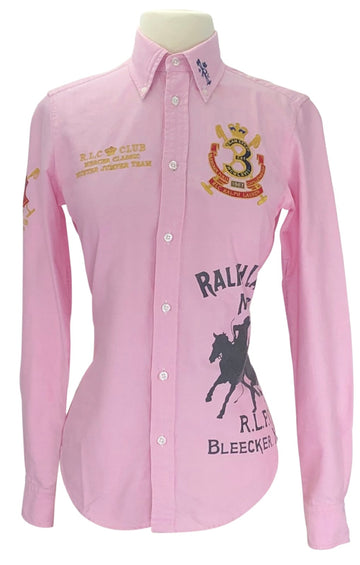 front view of Vintage Ralph Lauren Hunter Jumper Team Shirt in Pink