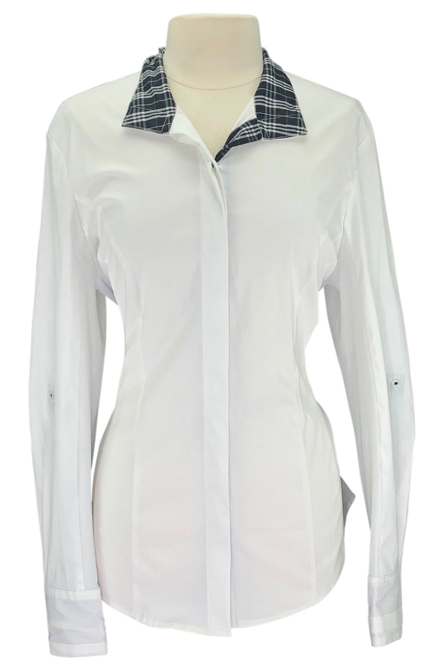 front view of Asmar Equestrian Show Shirt in White/Black Plaid
