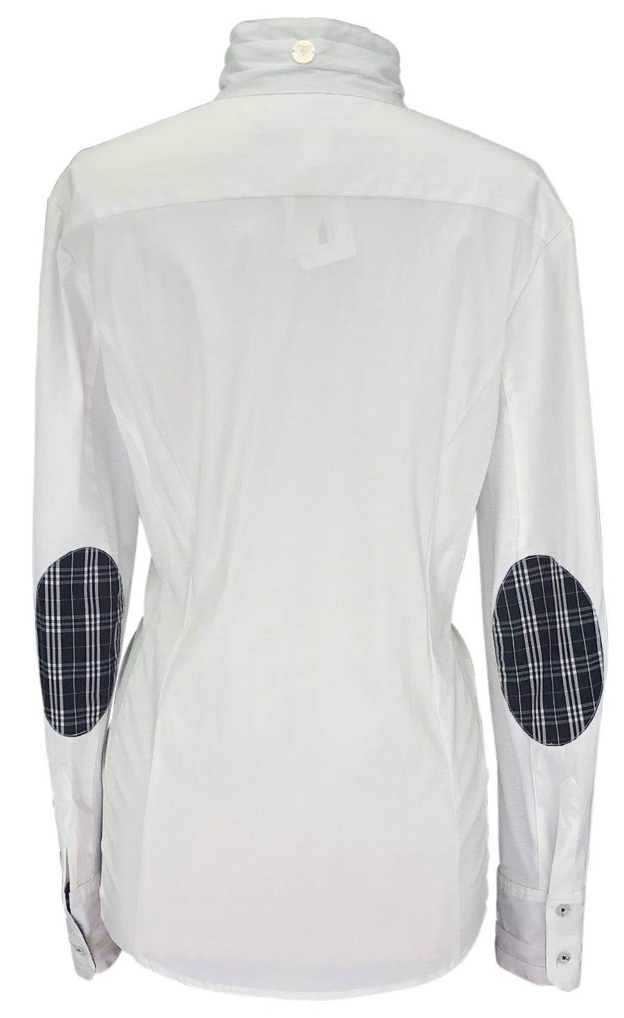 back view of Asmar Equestrian Show Shirt in White/Black Plaid