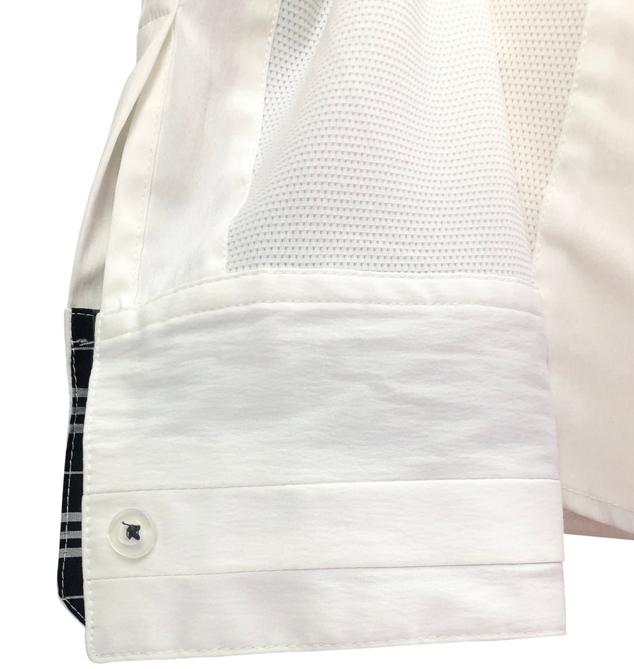 detail of Asmar Equestrian Show Shirt in White/Black Plaid