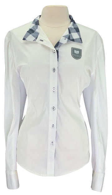 front view of Asmar Equestrian Oxford Show Shirt in White