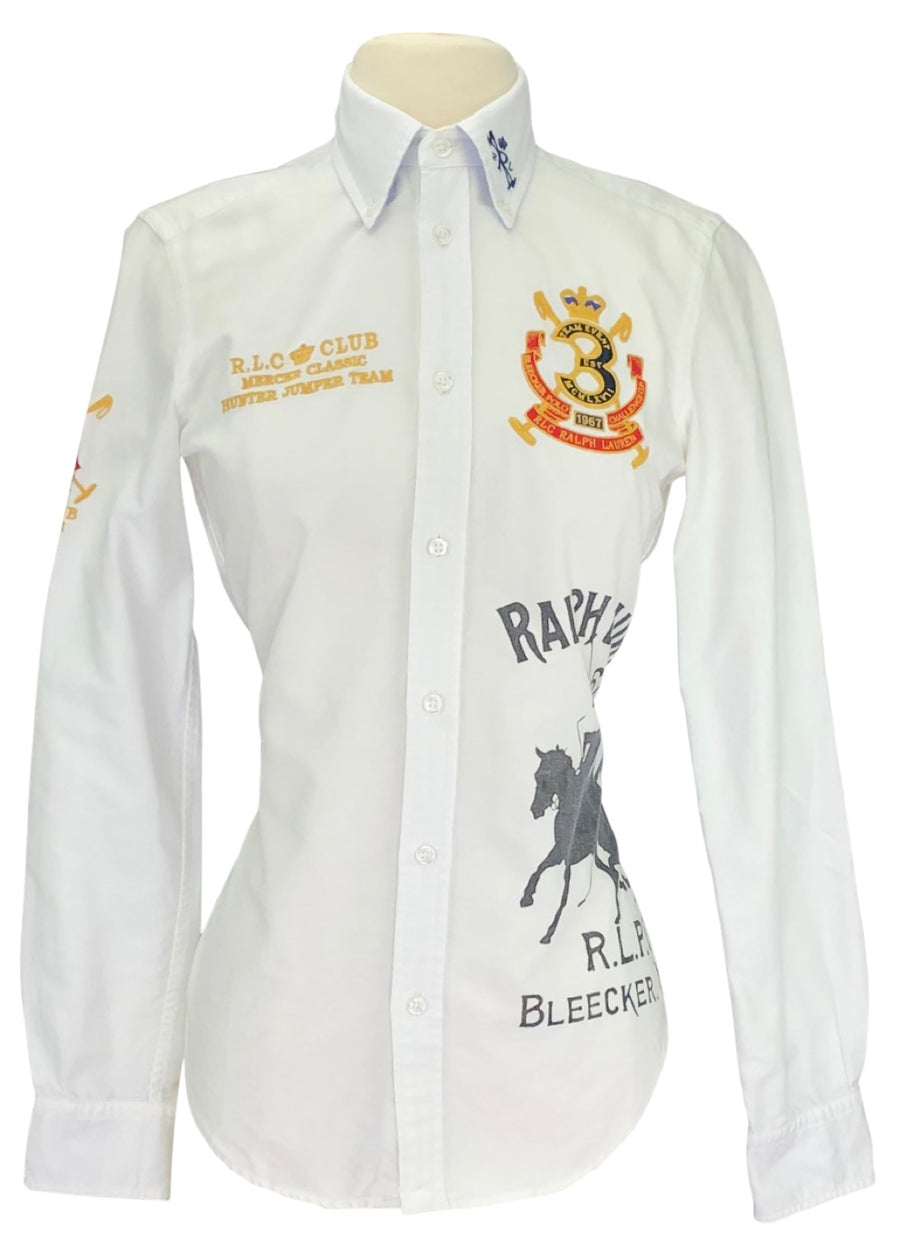 front view of Vintage Ralph Lauren Hunter Jumper Team Shirt in White