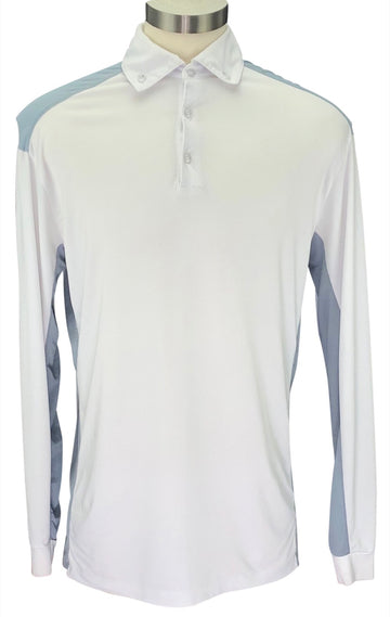 front view of EIS Long Sleeve COOL Polo Shirt in White