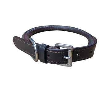 NWOT Rolled Leather Dog Collar in Brown - 12
